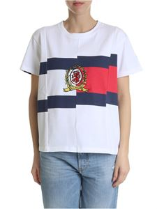 Hilfiger Collection - T-shirt in pure cotton in white and blue