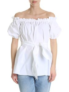 Pinko - Blouse in white cotton poplin