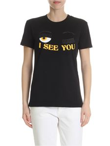 Chiara Ferragni - Black cotton t-shirt with logo print
