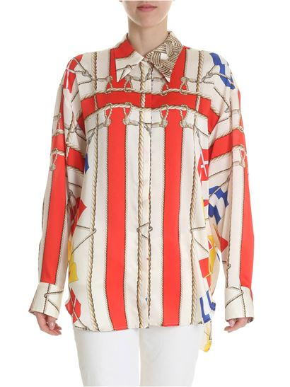MSGM - Cream white shirt with flags print