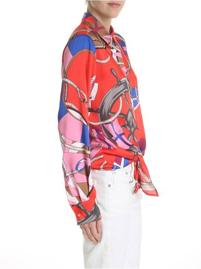 MSGM - Red shirt with nautical print