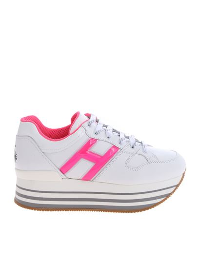 Hogan Spring Summer 2019 h283 white and fuchsia sneakers ...