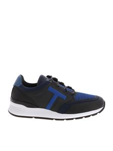 Tod's - Blue and black scuba effect fabric sneakers