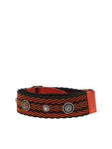 Orciani - Soft Bone shoulder strap in orange and black fabric