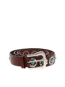 Orciani - Bull brown belt with silver decorations
