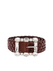 Orciani - Brown Masculine belt with rhinestone buckle