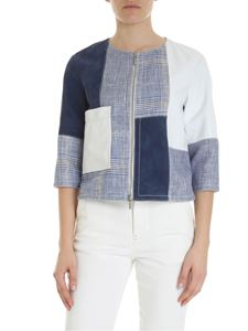 Lorena Antoniazzi - Crew-neck jacket in white leather and fabric