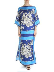 Parosh - Dress in shades of blue with floral print