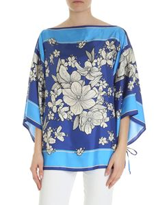 Parosh - Boxy blouse in shades of blue with floral print