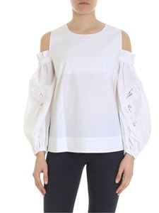 Parosh - White blouse with cut-out on the sleeves