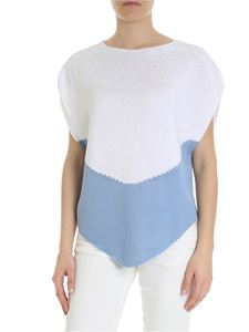 Lorena Antoniazzi - White and blue sweater with micro sequins