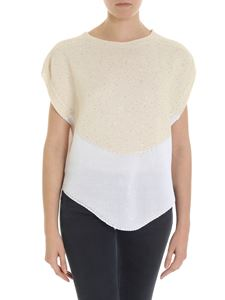 Lorena Antoniazzi - Ecru and white jumper with micro sequins