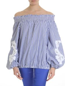 Parosh - Striped blouse with embroidery
