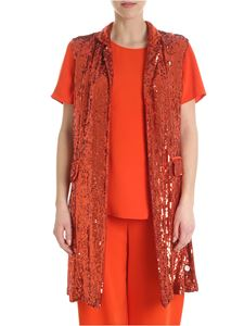 Parosh - Gilet color ruggine in paillettes