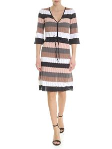 Kangra Cashmere - V-neck dress with multicolor stripes