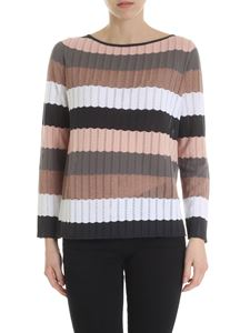 Kangra Cashmere - Pierced sweater with multicolor stripes