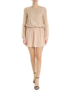 Patrizia Pepe - Short beige dress with golden embroideries
