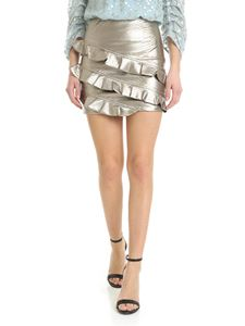 Patrizia Pepe - Reptile-effect golden faux leather skirt