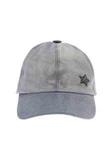 Lorena Antoniazzi - Light blue cap in vintage effect laminated leather