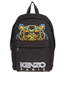 Kenzo - Tiger black backpack with neon logo