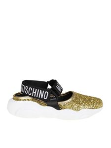 Moschino Boutique - Golden Teddy sandals with glitter