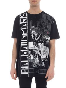 Balmain - Black T-shirt with Balmain Paris print