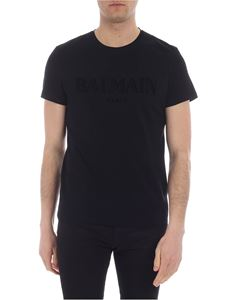 Balmain - Black cotton T-shirt with logo print