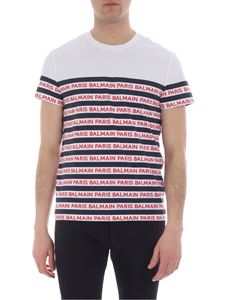 Balmain - White striped T-shirt