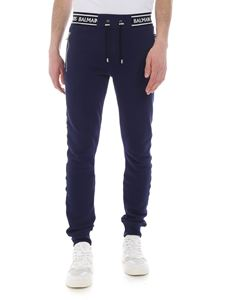 Balmain - Blue fleece trousers with elastic band