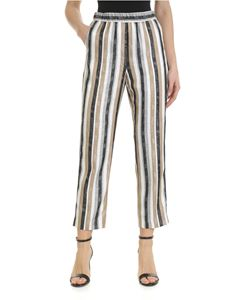 Peserico - Striped trousers in brown and gray