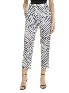 Peserico - Printed white and blue trousers