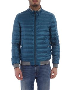 Herno - Teal down jacket with gray knit edges
