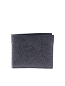 Canali - Wallet in blue texturized leather