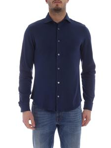 Fedeli - Steve shirt in blue organic cotton pique