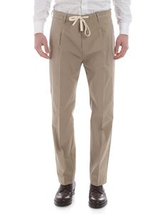 Paolo Pecora - Beige trousers with white drawstring