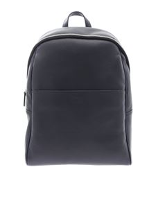 Canali - Blue hammered leather backpack