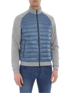 Herno - Light blue down jacket with grey cotton inserts