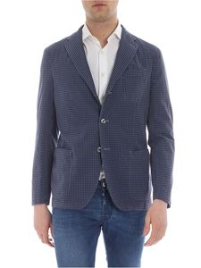 The Gigi - Blue and light blue checked three-button jacket