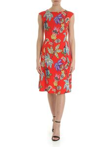 Etro - Red sleeveless midi dress with floral motif