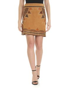 Alberta Ferretti - Mini skirt in suede with embroidery