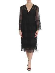 Alberta Ferretti - Black macramé midi dress with fringes