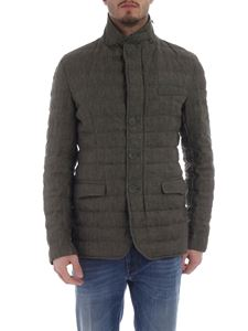 Herno - Herno green musk jacket in padded linen