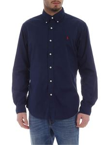 Ralph Lauren - Blue shirt with red logo embroidery