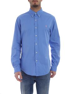 Ralph Lauren - Light blue shirt with pink logo embroidery