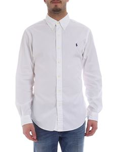 Ralph Lauren - White shirt with blue logo embroidery
