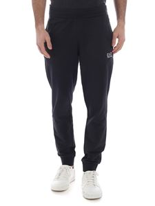 EA7 Emporio Armani - Dark blue pants with white logo print