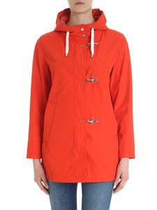 Fay - Red Fay coat with hood and carabiners