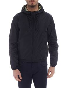 Fay - Water repellent jacket in blue with hood