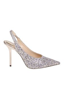 Jimmy Choo - Silver glittered Ivy 100 pumps
