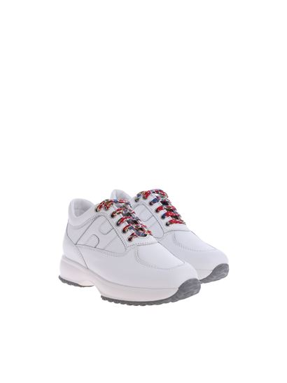 Hogan Junior Carrie Over interactive white h sneakers ...